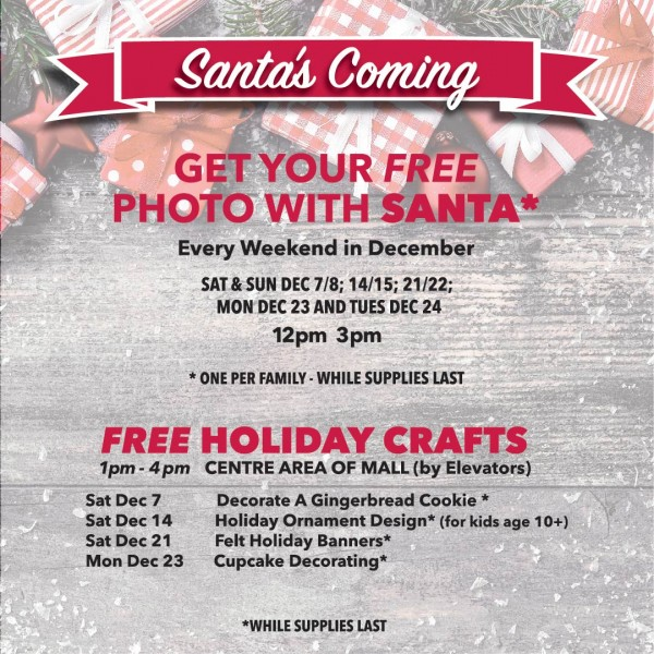 Get a Photo with Santa and Enjoy Holiday Crafts for FREE!