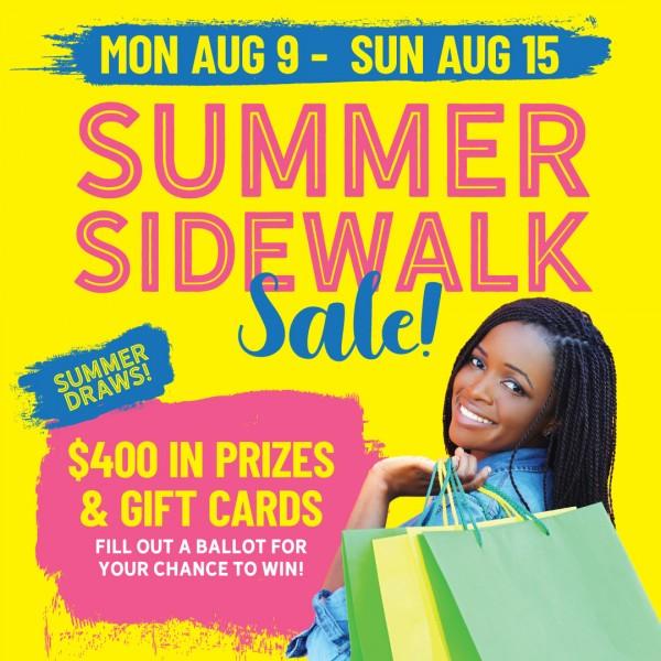 SAVE THE DATE!   SIDEWALK SALE IS MON AUG 9 - SUN AUG 15, 2021